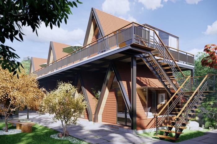 Mẫu nhà Homstay nhà khung thép được thiết kế độc đáo và sáng tạo