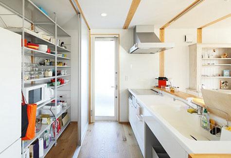 Khu vực bếp của nhà lắp ghép bằng vật liệu nhẹ.