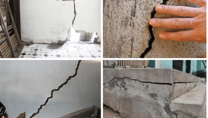 Tổng hợp các chuyển vị này sẽ gây nứt tường, rõ nhất là nứt thẳng xuyên tường do gãy gạch